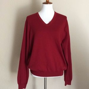 Brooks Brothers knit V neck Pullover Red Sz M